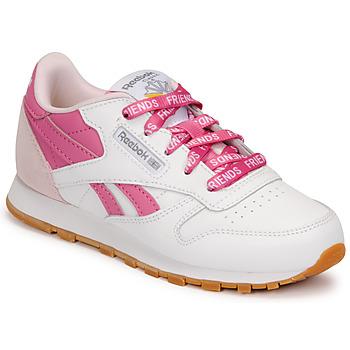 kengät Lapset Matalavartiset tennarit Reebok Classic CL LTHR Valkoinen / Vaaleanpunainen