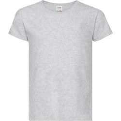 vaatteet Tytöt Lyhythihainen t-paita Fruit Of The Loom 61005 Heather Grey