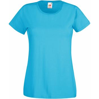 vaatteet Naiset Lyhythihainen t-paita Fruit Of The Loom 61372 Azure Blue