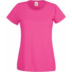 vaatteet Naiset Lyhythihainen t-paita Fruit Of The Loom 61372 Fuchsia