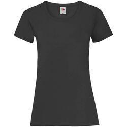 vaatteet Naiset Lyhythihainen t-paita Fruit Of The Loom 61372 Black