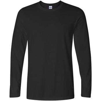 vaatteet Miehet T-paidat pitkillä hihoilla Gildan 64400 Black