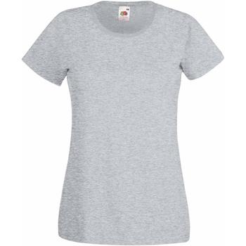 vaatteet Naiset Lyhythihainen t-paita Fruit Of The Loom 61372 Heather Grey