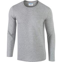 vaatteet Miehet T-paidat pitkillä hihoilla Gildan 64400 Sport Grey (RS)