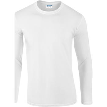 vaatteet Miehet T-paidat pitkillä hihoilla Gildan 64400 White