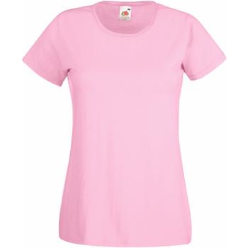vaatteet Naiset Lyhythihainen t-paita Fruit Of The Loom 61372 Light Pink