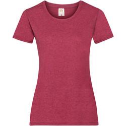 vaatteet Naiset Lyhythihainen t-paita Fruit Of The Loom 61372 Vintage Heather Red