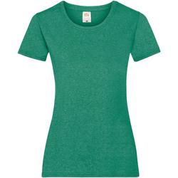 vaatteet Naiset Lyhythihainen t-paita Fruit Of The Loom 61372 Retro Heather Green