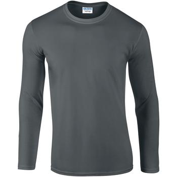 vaatteet Miehet T-paidat pitkillä hihoilla Gildan 64400 Charcoal