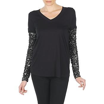 vaatteet Naiset T-paidat pitkillä hihoilla Manoush TSHIRT ML INDIAN BASIC Black