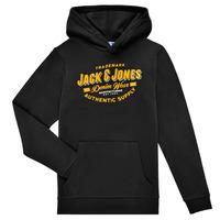 vaatteet Pojat Svetari Jack & Jones JJELOGO SWEAT HOOD Musta