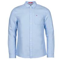 vaatteet Miehet Pitkähihainen paitapusero Tommy Jeans TJM LINEN BLEND SHIRT Sininen