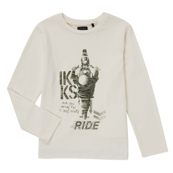 vaatteet Pojat T-paidat pitkillä hihoilla Ikks CERISE Valkoinen