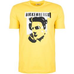 vaatteet Miehet Lyhythihainen t-paita Bikkembergs  Keltainen