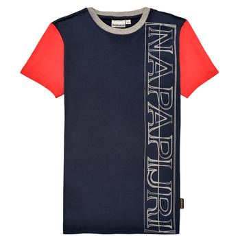 vaatteet Pojat Lyhythihainen t-paita Napapijri SAOBAB Laivastonsininen / Punainen