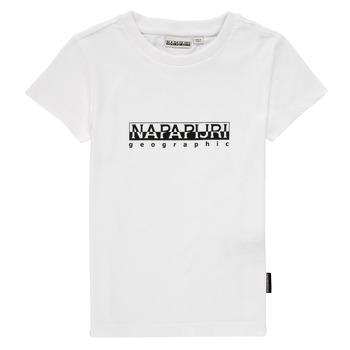 vaatteet Pojat Lyhythihainen t-paita Napapijri S-BOX SS Valkoinen