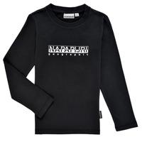 vaatteet Pojat T-paidat pitkillä hihoilla Napapijri S-BOX LS Musta