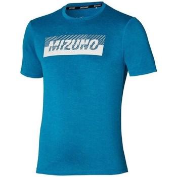 vaatteet Miehet Lyhythihainen t-paita Mizuno Core Graphic Tee Vaaleansiniset