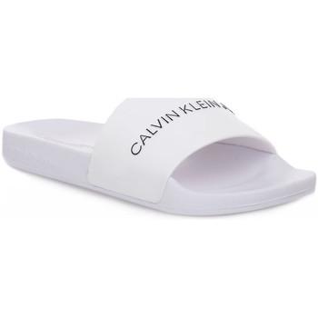 kengät Miehet Sandaalit Calvin Klein Jeans YAF SLIDE INSTITUTIONAL Bianco