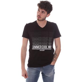 vaatteet Miehet Lyhythihainen t-paita Gaudi 111GU64069 Musta