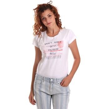 vaatteet Naiset Lyhythihainen t-paita Key Up 5K02S 0001 Valkoinen