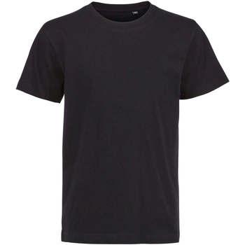 vaatteet Lapset Lyhythihainen t-paita Sols Camiseta de niño con cuello redondo Negro