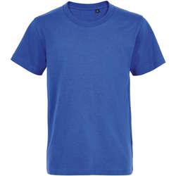 vaatteet Lapset Lyhythihainen t-paita Sols Camiseta de niño con cuello redondo Azul
