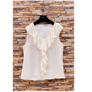 vaatteet Naiset Topit / Puserot Fashion brands ERMD-13797-CP-BLANC Valkoinen