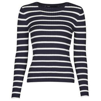 vaatteet Naiset Neulepusero Only ONLNATALIA Laivastonsininen / Valkoinen