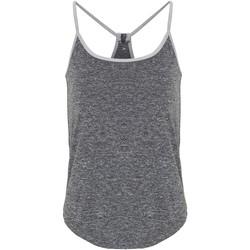 vaatteet Naiset Hihattomat paidat / Hihattomat t-paidat Tridri TR043 Black Melange/Silver Melange