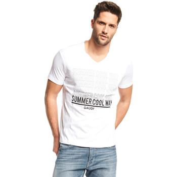 vaatteet Miehet Lyhythihainen t-paita Gaudi 111GU64069 Valkoinen