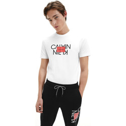 vaatteet Miehet Lyhythihainen t-paita Calvin Klein Jeans K10K106489 Valkoinen