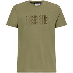 vaatteet Miehet Lyhythihainen t-paita Calvin Klein Jeans K10K107158 Vihreä