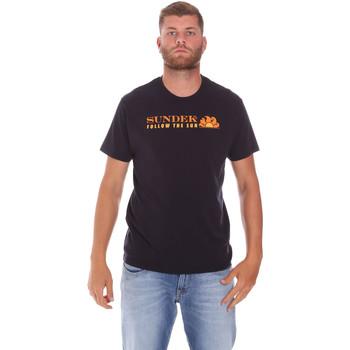 vaatteet Miehet Lyhythihainen t-paita Sundek M049TEJ7800 Musta
