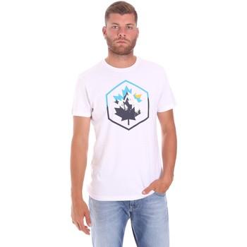 vaatteet Miehet Lyhythihainen t-paita Lumberjack CM60343 023EU Valkoinen