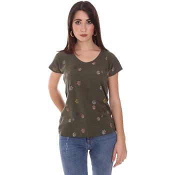 vaatteet Naiset Lyhythihainen t-paita Lumberjack CW60343 013EU Vihreä