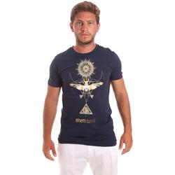 vaatteet Miehet Lyhythihainen t-paita Roberto Cavalli HST65B Sininen