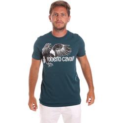 vaatteet Miehet Lyhythihainen t-paita Roberto Cavalli HST68B Vihreä