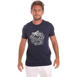 vaatteet Miehet Lyhythihainen t-paita Roberto Cavalli HST64B Sininen