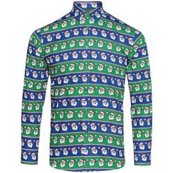 vaatteet Miehet Pitkähihainen paitapusero Christmas Shop CS001 Santa Blue/Green