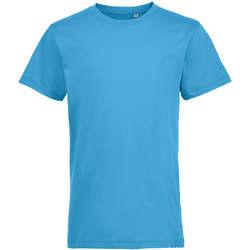 vaatteet Lapset Lyhythihainen t-paita Sols REGENT FIT CAMISETA MANGA CORTA Azul
