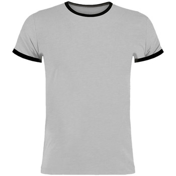 vaatteet Miehet Lyhythihainen t-paita Kustom Kit KK508 Light Grey Marl/Black