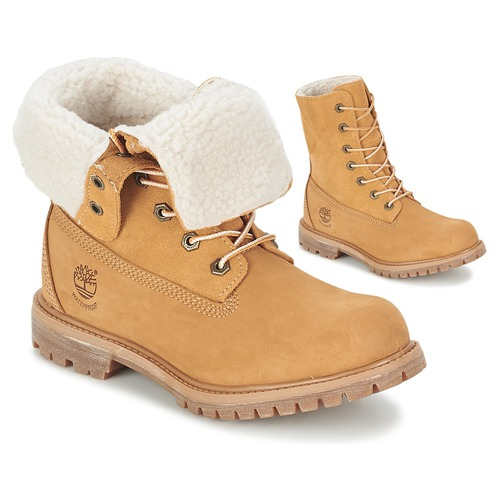 kengät Naiset Bootsit Timberland AUTHENTICS TEDDY FLEECE WP FOLD DOWN  Cognac   Clair fbe1231026
