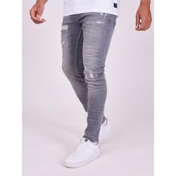 vaatteet Miehet Housut Project X Paris Pantalon Jeans Slim effet usé gris foncé
