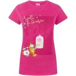 vaatteet Naiset Lyhythihainen t-paita Beauty And The Beast  Pink