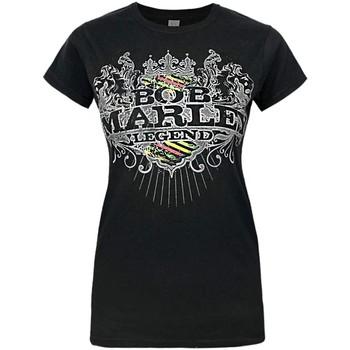 vaatteet Naiset Lyhythihainen t-paita Bob Marley  Black