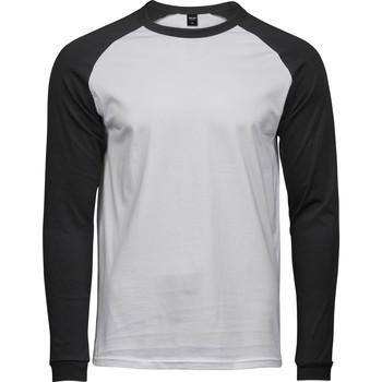 vaatteet Miehet T-paidat pitkillä hihoilla Tee Jays T5072 White/Black