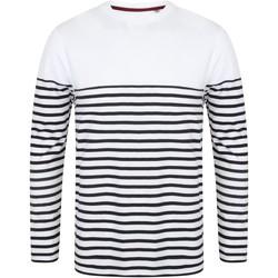 vaatteet Miehet T-paidat pitkillä hihoilla Front Row FR134 White/Navy