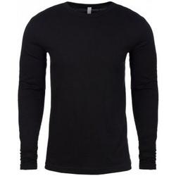 vaatteet Miehet T-paidat pitkillä hihoilla Next Level NX3601 Black