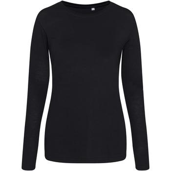 vaatteet Naiset T-paidat pitkillä hihoilla Awdis JT02F Solid Black